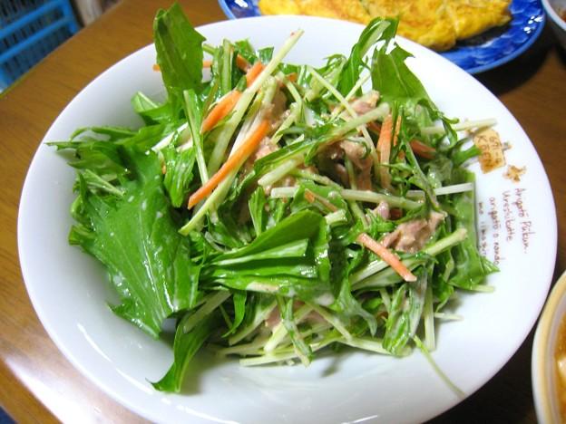 サラダ水菜とツナのマヨポン酢七味あえ…
