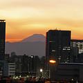 12月25日夕方、台場からの富士山。