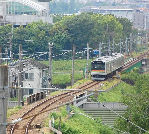 浅川を渡る電車
