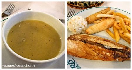 スープと魚料理
