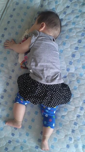 Photos: 最近うつぶせ寝がブームらしい。未だにちょっと心配で鼻息チェックは...