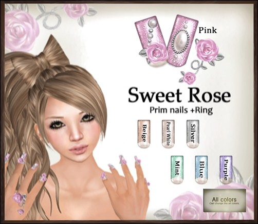 [ Love Soul ] Prim nails+Ring*Sweet Rose*